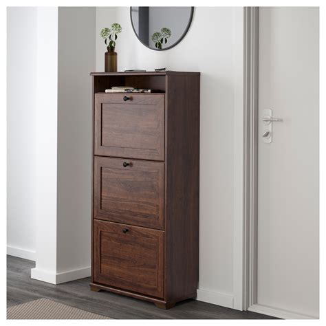 Brown Shoe Cabinet by Brusali Shoe Cabinet With 3 Compartments Brown 61x130 Cm