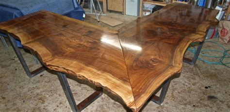 buy  custom   edge walnut  shaped desk