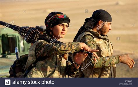 G O Y A soldiers with the kurdish ypg during operations shown in a propaganda stock photo royalty free