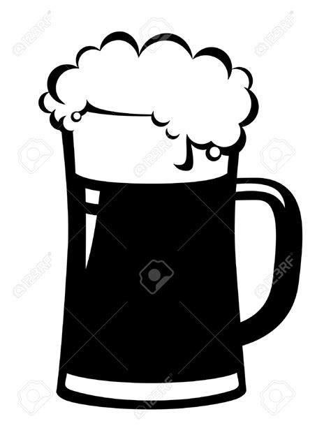cartoon beer black and white beer mug silhouette clipart collection
