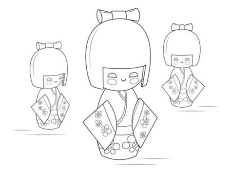 Dibujo de Muñecas Kokeshi para colorear   Dibujos para