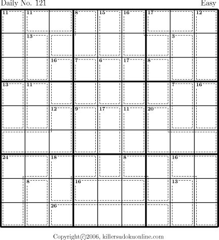 printable daily killer sudoku archive page for 4 26 2006