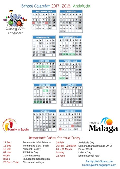 Calendar 2018 Spain Printable School Calendar Spain Family In Spain