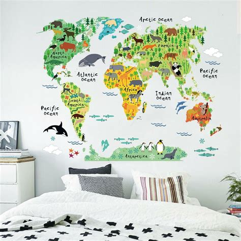 room stickers colorful world map nursery room wall stickers home decal mural wallpaper ebay