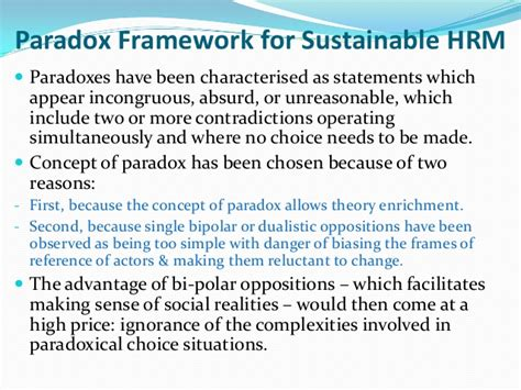 Framework Of Business Mba Notes by Paradox Framework For Sustainable Hrm