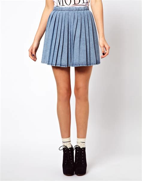 asos pleated denim mini skirt in blue lyst