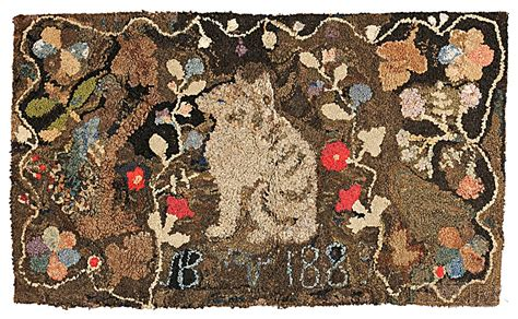 Cat On Rugs by Hooked Rug With Cat And Date Quot 1885 Quot Sale Number 2785t