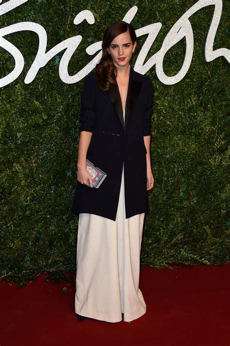 emma watson jumpsuit emma watson at british fashion awards 2014 in london