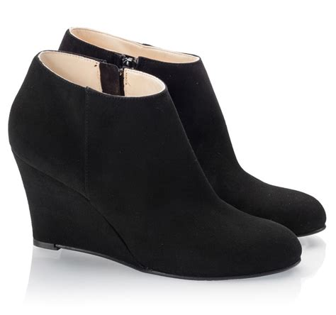 black suede wedge ankle boots shoes mod
