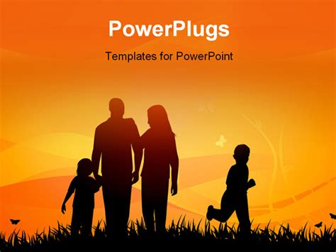 A Couple With Their Two Children On A Fieled At Sunset Family Powerpoint Templates Free