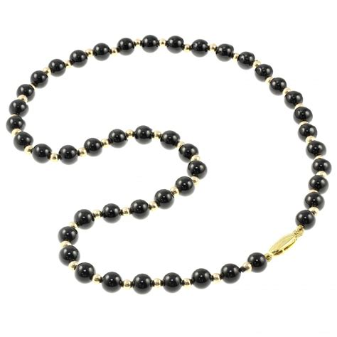 onyx bead necklace 9ct yellow gold 18 quot onyx gold small bead necklace