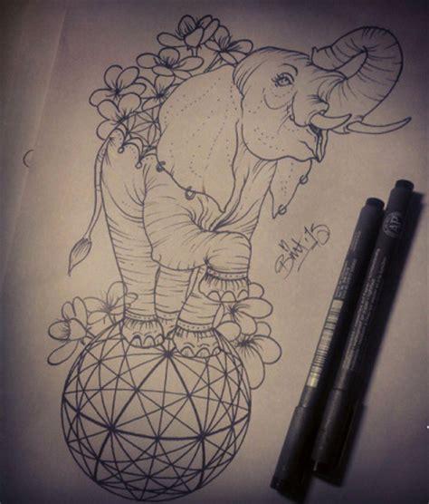 new school geometric tattoo happy new school elephant standing on geometric ball