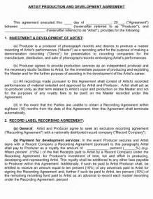 Music Production Agreement Template Producer Artist Development Agreement Musiccontracts Com