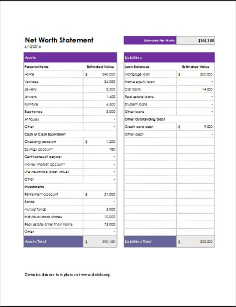 Excel Net Worth Template by Net Worth Statement Template For Excel Word Excel