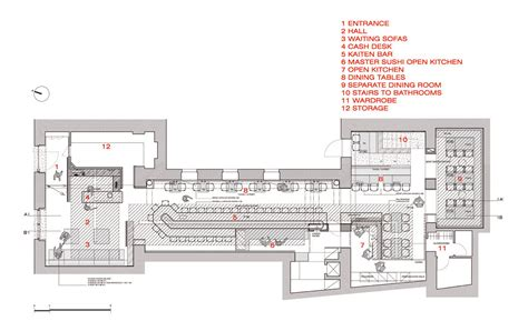 auto cad floor plan hado japanese restaurant and gallery gallery of zen sushi restaurant carlo berarducci