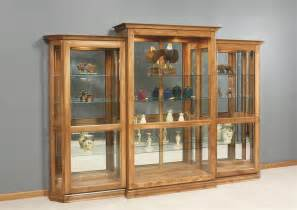 Curio Cabinets With Sliding Doors Amish Deluxe 3 Sliding Door Curio Cabinet