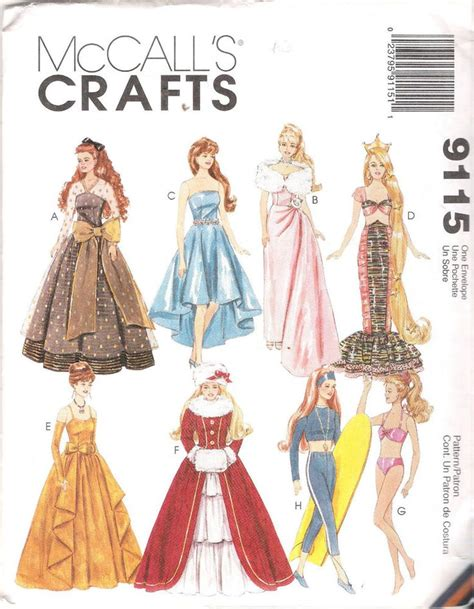 barbie sewing patterns on pinterest barbie patterns barbie sized fashion doll clothes sewing pattern mccalls