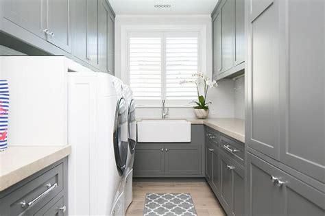 grey laundry gray laundry room with gray trellis runner contemporary
