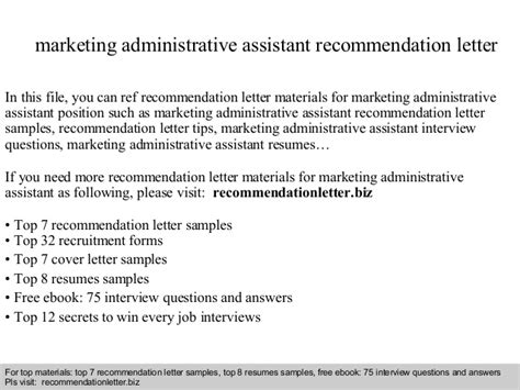 Recommendation Letter Marketing Assistant Marketing Administrative Assistant Recommendation Letter