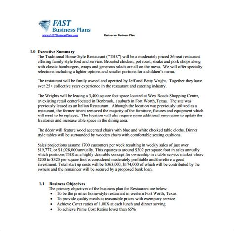 6 business plan examples pdf free parts of resume