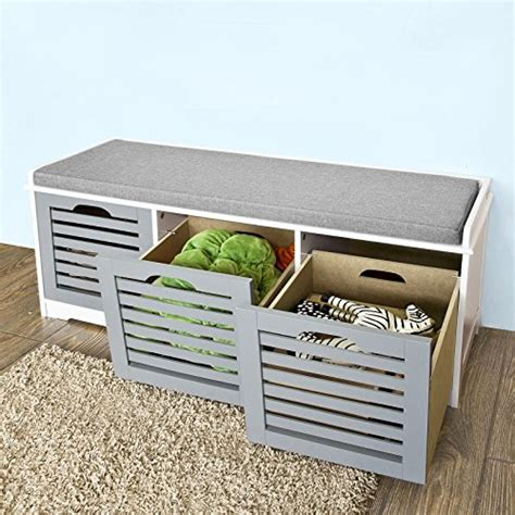 storage bench with cushion seat haotian fsr23 hg storage bench with 3 drawers padded