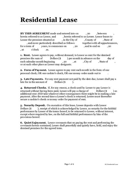 simple one page lease agreement template 9 best images of simple one page lease agreement free