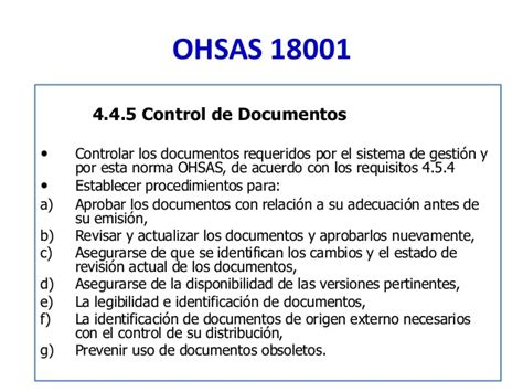 control de documentos curso auditoria ohsas 18001 1