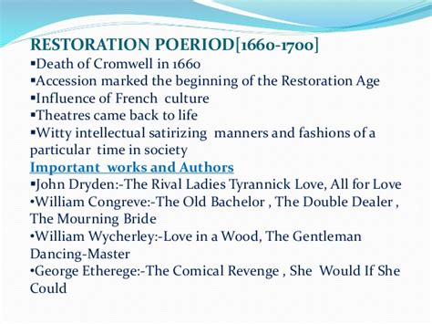 themes in restoration literature ages of english literature