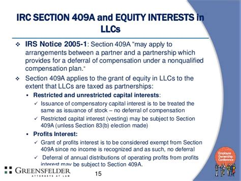irc section 409a equity incentives for limited liability companies