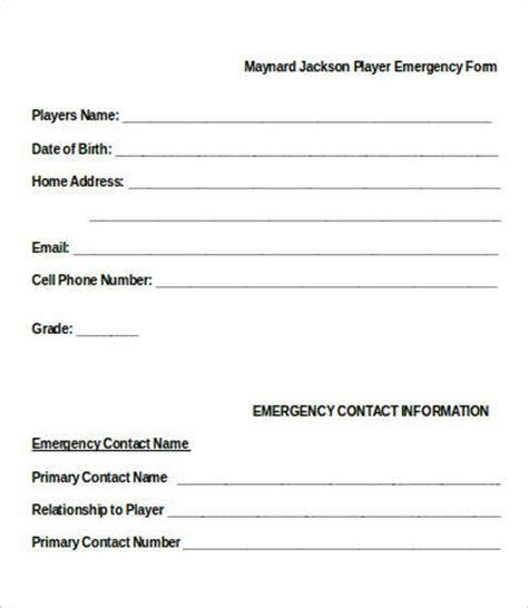 emergency contact forms first responder free printable