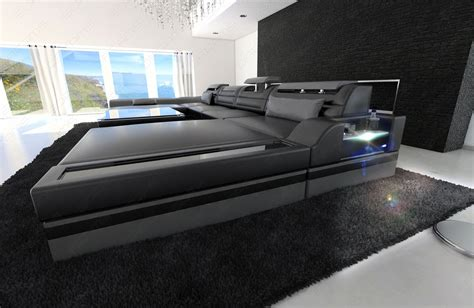 U Shaped Leather Sofa Big Sectional Sofa Monza U Shaped With Led Lights Black