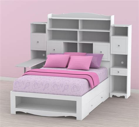 nexera pixel bookcase storage bed with desk n