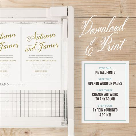 script template for apple pages instant download printable wedding invitation template