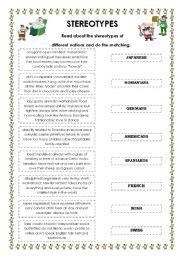english worksheets stereotypes worksheets