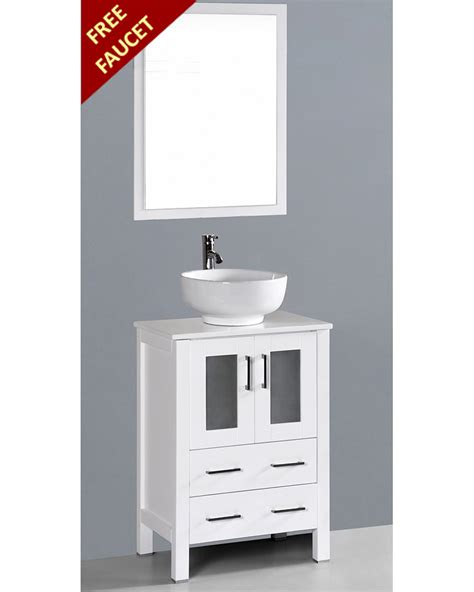 White Bathroom Vanity With Vessel Sink by White 24in Vessel Sink Single Vanity By Bosconi Boaw124ro