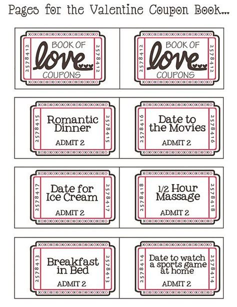 free printable valentine tickets free download printable for a book of love tickets also a