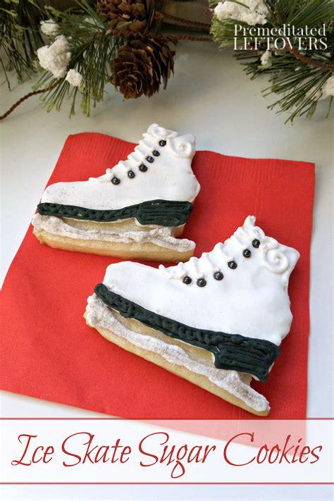 decorate ice skate sugar cookies
