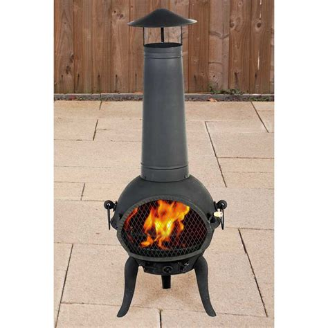 Chiminea Topper terra cast iron chiminea with flue topper black 125cm on sale
