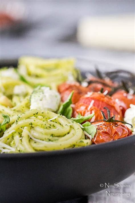 arugula pesto pasta with tomatoes burrata no spoon necessary