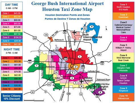 houston map iah george bush intercontinental airport taxi zone map iah