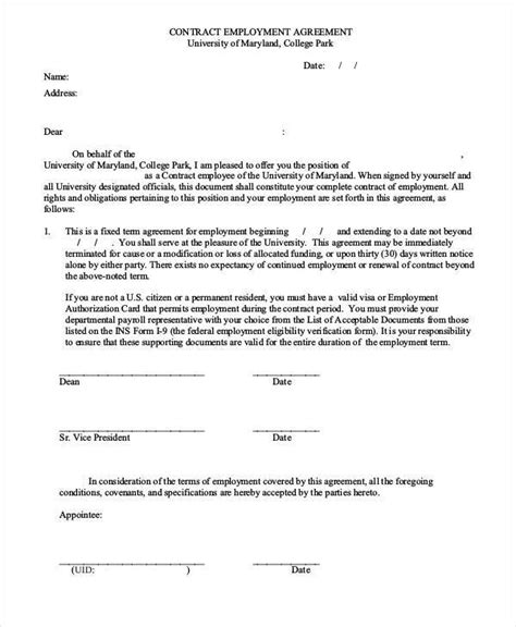 employment contract form 9 employment agreement form sles free sle