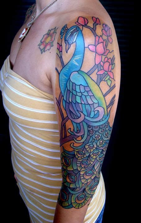 elegant art nouveau peacock by nessa tattoo pinterest