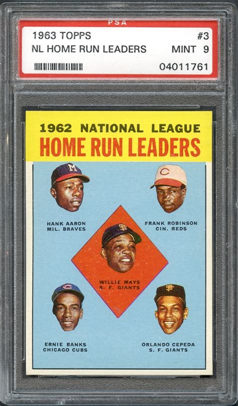 lot detail 1963 topps 3 nl home run leaders psa 9 mint