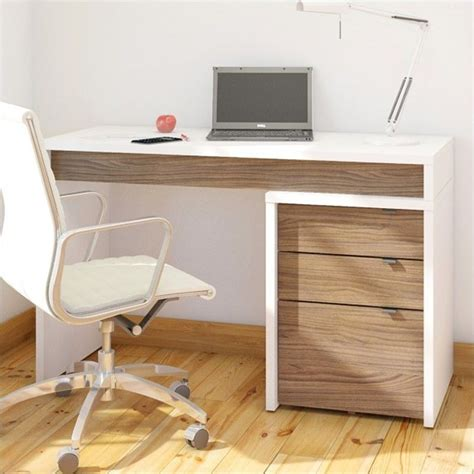 liber t home office kit with two reversible desk panels 3 drawer computer desk in white and walnut 211x03 kit
