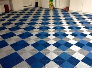 white blue vented grid loc rubber garage floor tiles