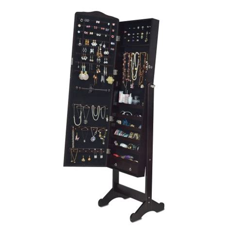 floor length mirror jewelry armoire dark brown floor standing jewelry cabinet full length