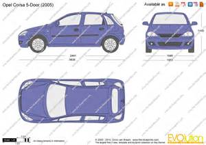 Opel Corsa Dimensions The Blueprints Vector Drawing Opel Corsa C 5 Door