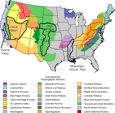physiographic map of united states usgs wrir 98 4245 distribution of major herbicides in