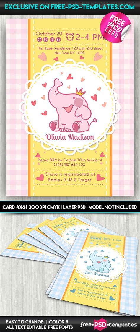 card templates psd behance baby shower card free psd card template on behance