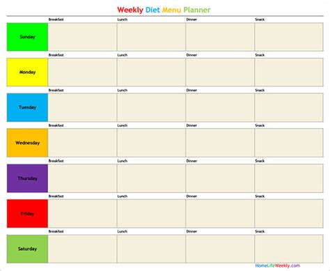 menu planner template  psd  eps indesign  premium templates